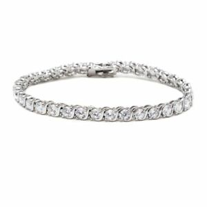 06eb8469b902 Rhodium Plated Silver and White Swarovski Elements Round-cut Tennis Bracelet