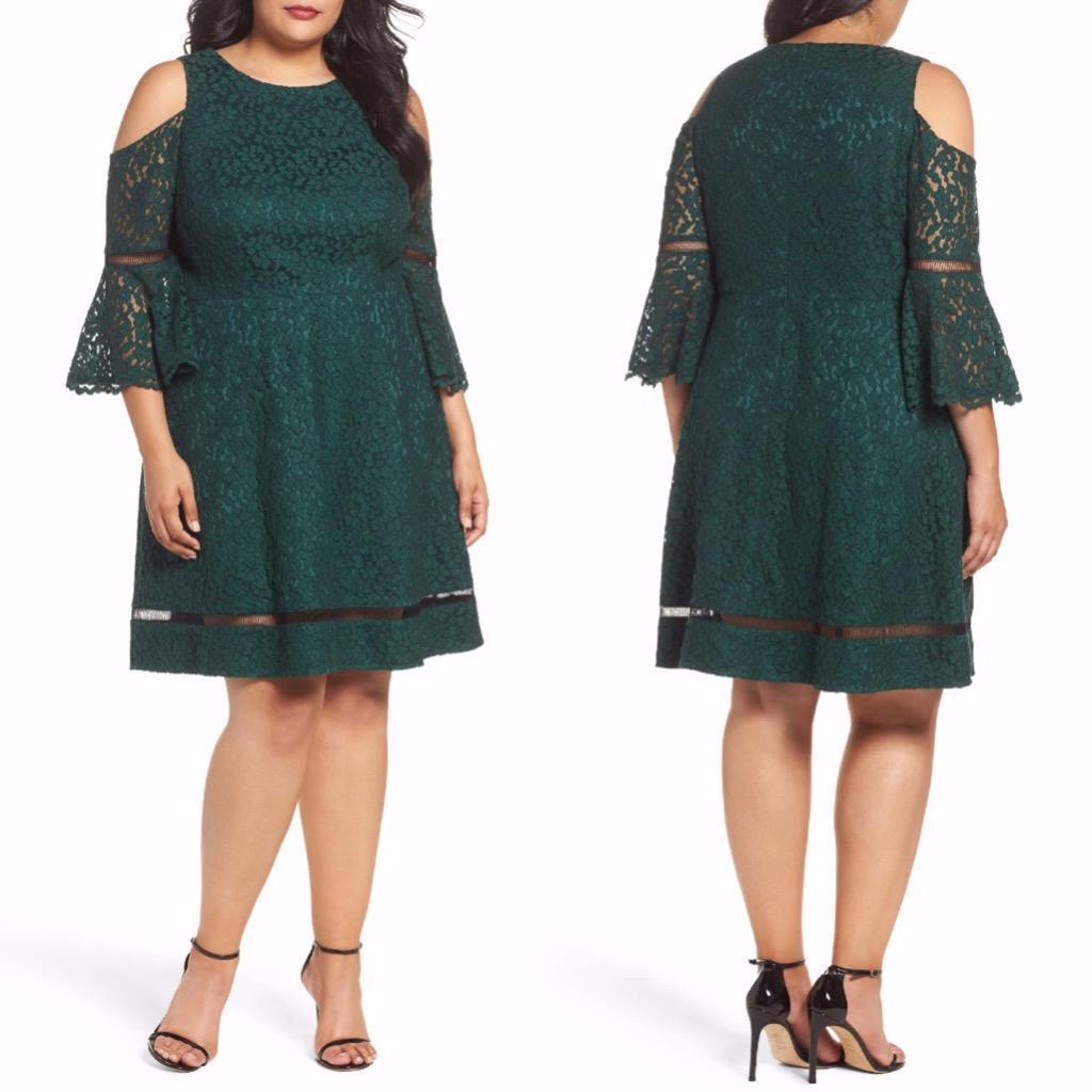 ELIZA J COLD SHOULDER LACE RUFFAL BELL SLEEVE GREEN DRESS sz  18W