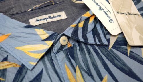 NWT $135 Tommy Bahama Short Sleeve Blue w//Orange Floral Camp Shirt Mens NEW