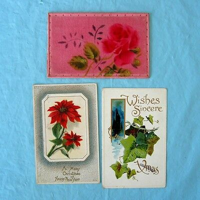 3 Vintage Antique Embossed Christmas Postcards Velvet Cushion Card Flower Leaves