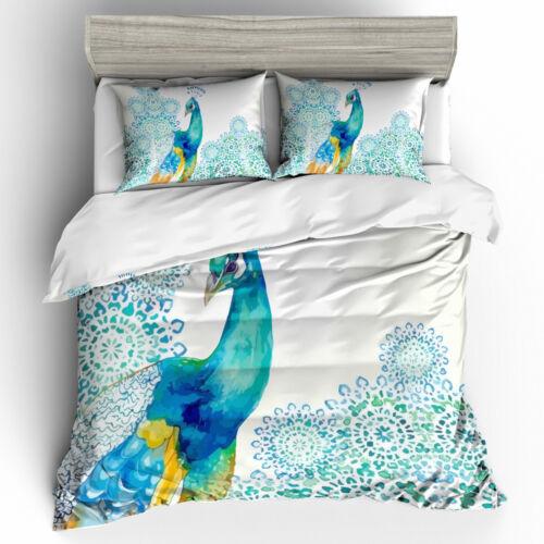 3D Peacock Floral Bedding Set Peafowl Quilt//Duvet//Doona Cover Pillow Case Animal