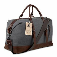 Canvas Overnight Bag Travel Duffel Genuine Leather for Men and Women Weekender