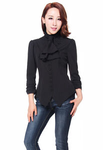 8 Retro Black To 30 Top With Blouse Victorian Scarf Steampunk Gothic Ruched Sx6gAqZwz