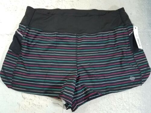 Zelos Womens Athletic Running Shorts Black With Stripes Side Pockets
