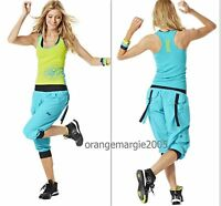 Zumba 2 Piece Set Hip Hop & Salsa- Cargo Capri Pants & Top Shirt Racerback S M