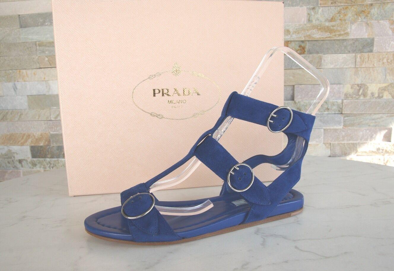 Luxus PRADA Gr 36 Sandalen RiemenSandale Schuhe Ziegenleder blau NEU