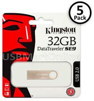 Lot Of 5 Kingston Datatraveler 32gb Usb 2.0 Memory Flash Drive Metal Dt Se9 Pack