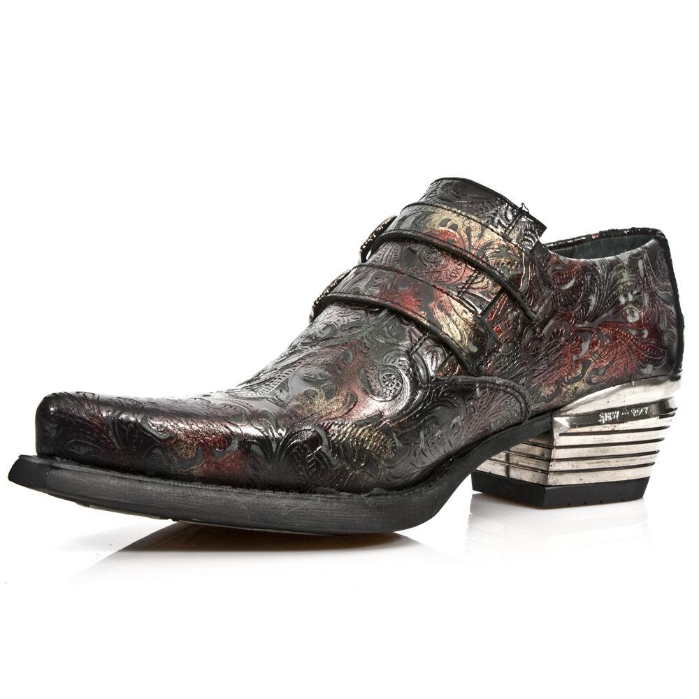 NEW Rock 7960-S5 in rilievo vintage nero, rosso in Scarpe pelle Fibbia Scarpe in con tacco a in acciaio e71b7e
