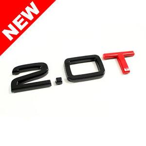VW/AUDI 2.0T TRUNK EMBLEM BADGE - BLACK/RED