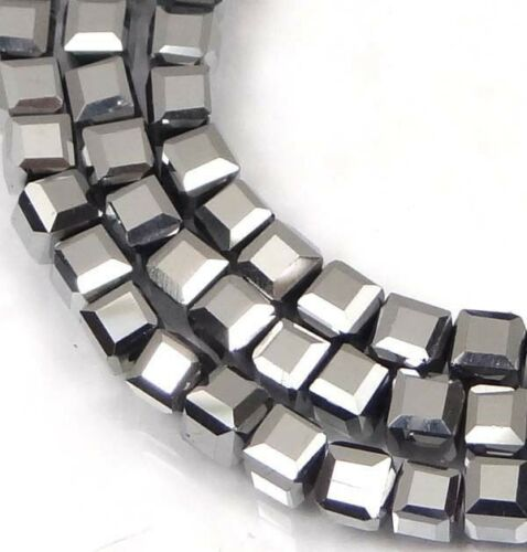 Metallic Silver 50 Czech Firepolish Glass Faceted Cube Beads 3mm