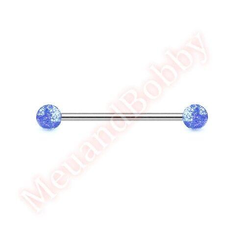 14G Glitter Ball Industrial Barbell Ear Ring Bar Body Piercing Jewellery