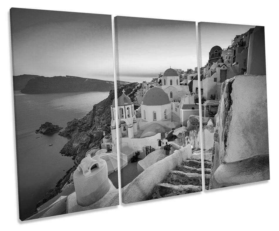 Greece Sunset Santorini B&W CANVAS WALL ART TRIPLE Box Frame Print