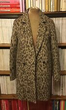 WAREHOUSE grey leopard print boyfriend coat UK 8 US 4 cocoon