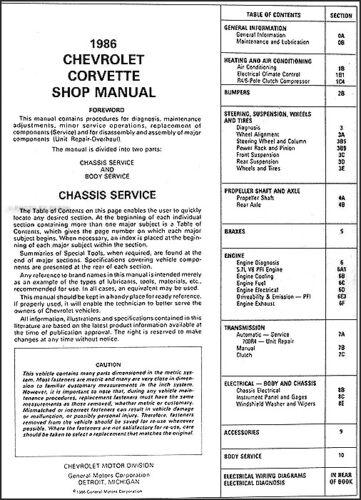 1986-1987 Corvette Manuale di Negozio CD Servizio Riparazione Libri su Cd-Rom