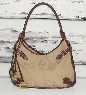 RALPH LAUREN~BROWN *SIGNATURE-HORSE MONOGRAM* SHOULDER BAG PURSE + KEYCHAIN~RARE
