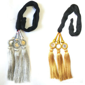 Golden-and-Silver-Paranda-Parandi-pranda-Hair-Accessory-Braid-Tassles-2-Piece