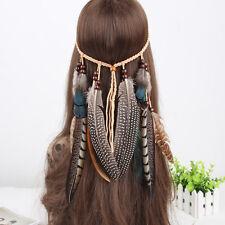 Women Hippie Indian Feather Headband Hairband Carnival Headdress Bonfire