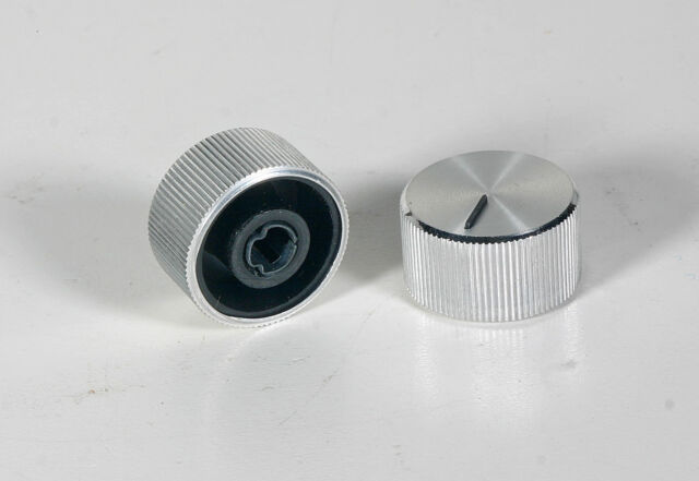 """2x Turning Knob 1//4/"""" Shaft w// Aluminum Inlay"""
