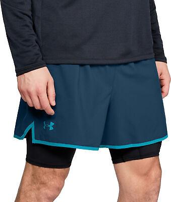 2019 Nuovo Stile Under Armour Qualificatore 2 In 1 Pantaloncini Da Uomo Corsa-blu-mostra Il Titolo Originale Una Custodia Di Plastica è Compartimentata Per Lo Stoccaggio Sicuro