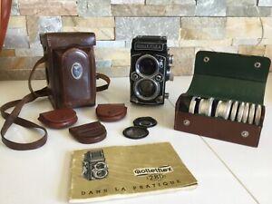 Appareil photo Rolleiflex 2.8D noir très bon état. Accessoires. Année 1954-1956