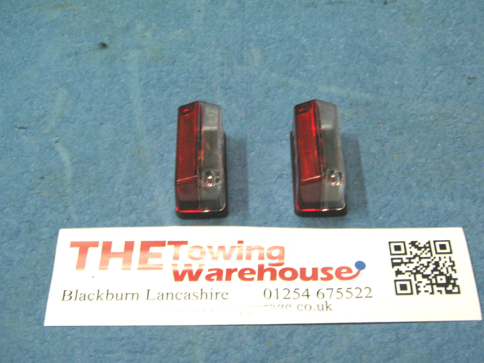 Pair of red/white side marker lamps to fit Indespension plant trailers etc