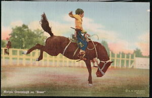 MARGIE-GREENOUGH-Cowgirl-on-Boxer-Bucking-Bronco-Vtg-Postcard-Old-Cowboy-PC