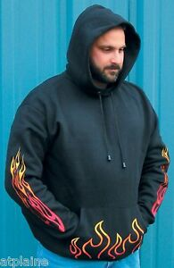 Sweat-capuche-FLAMING-brode-Taille-L-Style-BIKER-HARLEY