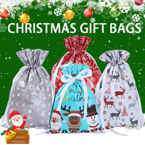 5pcs Large Drawstring Christmas Gift Bag Party Candy Bags Cookie Wrapping Pouch