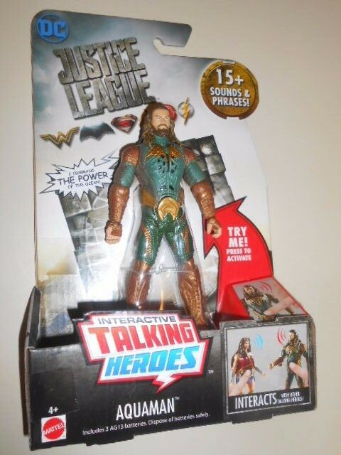 AQUAMAN ( 6 ) DC DC DC ((( TALKING HEROES ))) JUSTICE LEAGUE INTERACTIVE ACTION FIGURE 2224cd
