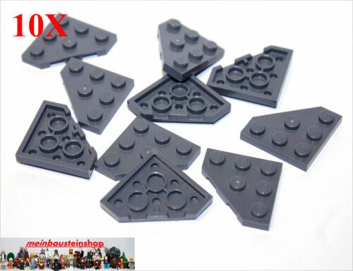 10X Lego® 2450 Eck-Platten Diagonal Wedge Corner 3X3 neues Dunkelgrau NEU