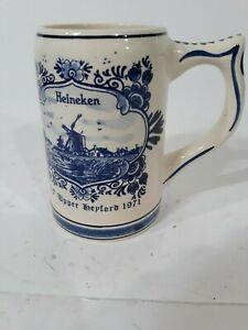 Vintage-Rare-1971-Heineken-Delft-Blue-Beer-Stein-Hand-Painted-Made-In-Holland