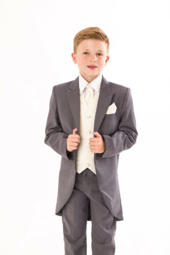 Boys Grey//Cream Swirl Tailcoat Suit 5 pc wedding suit party pageboy formal