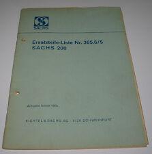 Ersatzteilliste ET Katalog Sachs 200 Ersatzteile Liste Nr. 365.6/5 Januar 1970!
