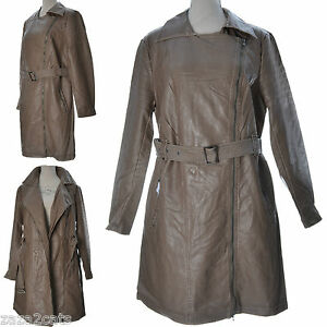 Vielli Manteau Simili Cuir Long Trench 44 42 Femme Marron Aspect 3 T OXOwT