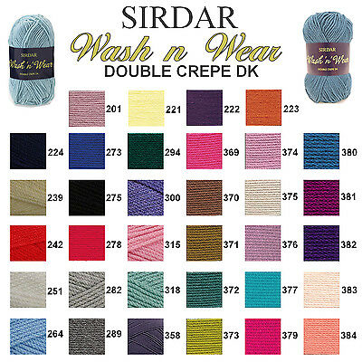 Sirdar Wash 'n' Wear Double Crepe DK 50g Knitting Wool Yarn - ALL COLOURS