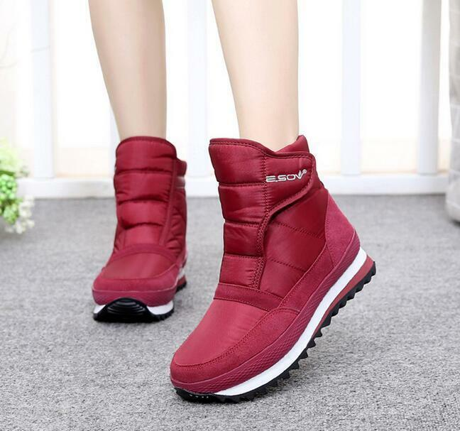 Women Fashion Warm Winter Fleece Lined Comfort Ankle Boots Snow Pumps New shoes