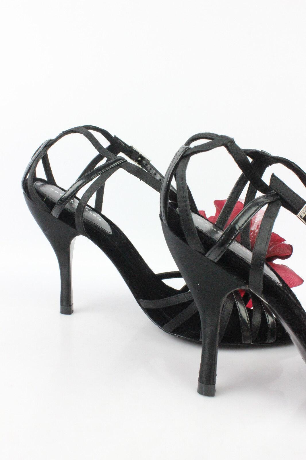Sandalen Schuhe KAREN MILLEN Vollleder schwarz Blumen Bordeaux top T 37 top Bordeaux Zustand 457e6c