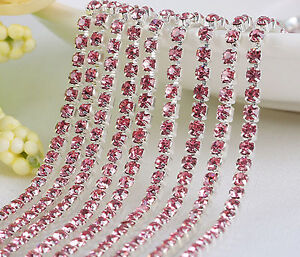 1m-Chain-Single-Row-Strass-Glass-Crystal-Rhinestones-Claw-Cup-Trims-4-Size