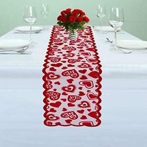 Valentines Day Table Runner Red 13 X 72inch Lace For Wedding Party