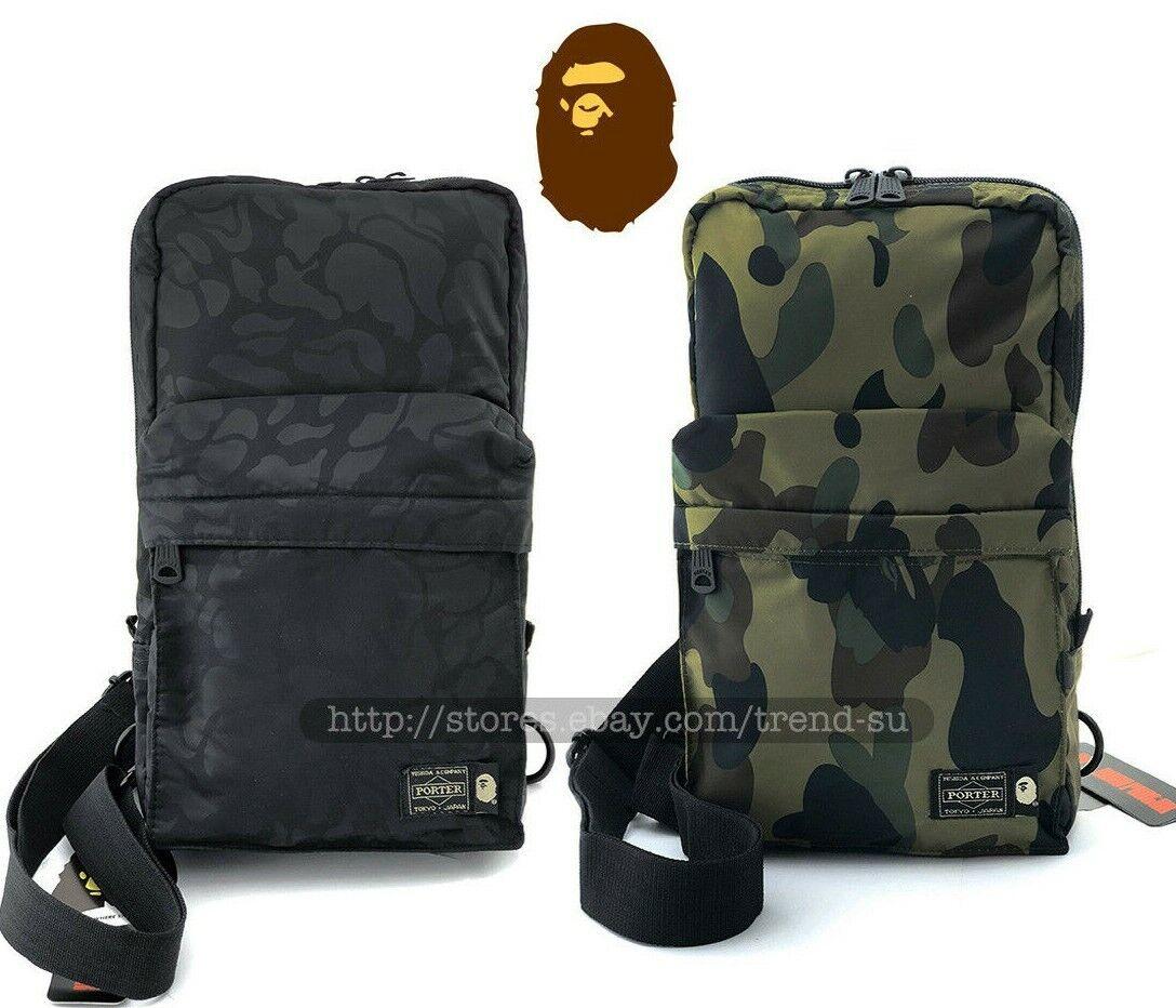 Japan A Bathing Ape Bags Bape X Porter 1st Camo One Shoulder Bag Blue Gray