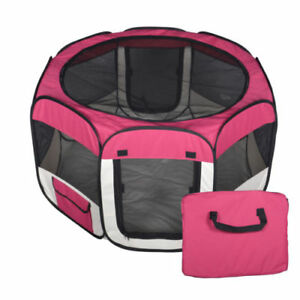 Small-Pet-Dog-Cat-Tent-Playpen-Exercise-Play-Pen-Soft-Crate-Fence-Case-Burgundy