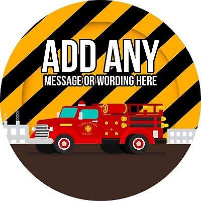 Unito Il Camion Dei Pompieri Adesivo Con Le Etichette Per Party Borsa Dolce Coni-mostra Il Titolo Originale