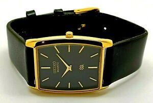 Seiko-Quartz-Super-Slim-Men-039-s-Gold-Plated-Analog-Rectangle-Black-Face-Watch