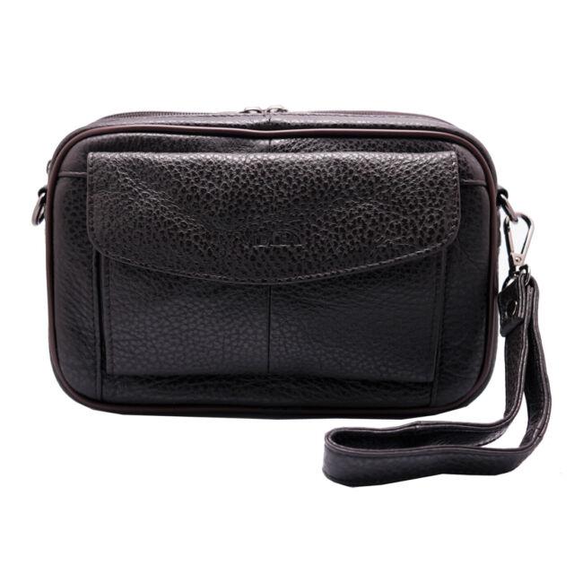 7f1ae67134 Genuine Leather Mens Handbag Wrist Gadget Man Bag Crossbody Shoulder bag  Brown