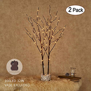Image Is Loading Pre Lit Artificial Twig Tree Lighted Willow Branches