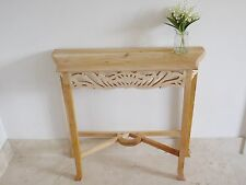 Unfinished Console Table Solid Hand Carved Mahogany Wood Lamp Side Hallway Desk