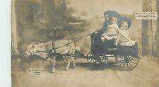 Real Photo, Studebaker Jr Wagon pulled by Goat w/3 boys 1906 UDB Real Photo PC