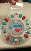Justice Girl's 20 Press On Red Blue & Silver Glitter Nails