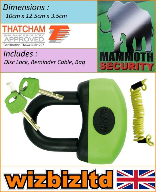 Motorcycle Security Disc Lock Mammoth Thatcham Approved (Free Bag) LODM006