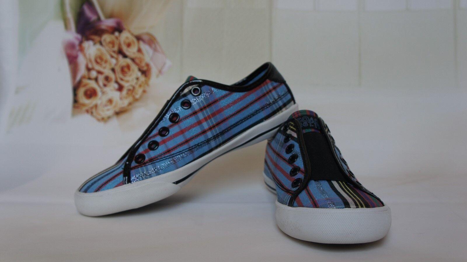 NIB COACH Women's A1595 Blue/Red Tartan Plaid Sneaker shoes Size 6.5